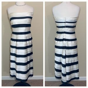 BCBG Maxazria cocktail dress black white tiered